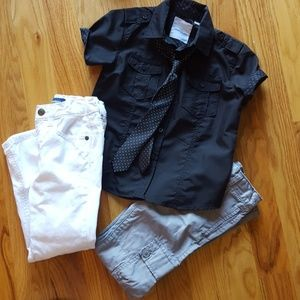 Black button down shirt with 2 pair of pants.